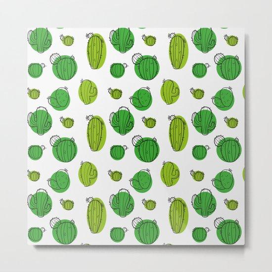 Green Cactus pattern Metal Print