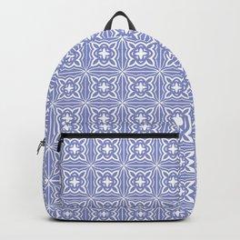 geometric pattern light blue square tiles Backpack
