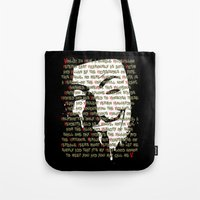 vendetta Tote Bags featuring Vendetta 1.0 by Sberla