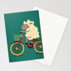 Lamb on the bike Stationery Cards