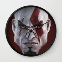 video games Wall Clocks featuring Triangles Video Games Heroes - Kratos by s2lart