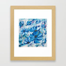 Abstract Blue Poppies Framed Art Print