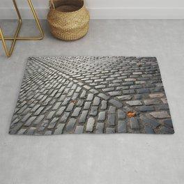 Leaves on cobblestones Rug