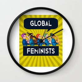 Global Feminists Women Girls design Rosie Riveter Design Wall Clock