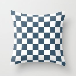 Dusky Blue Checkers Pattern Throw Pillow