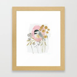 Chickadee and flowers Framed Art Print