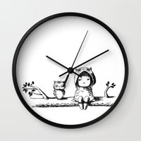 owls Wall Clocks featuring Owls by Freeminds