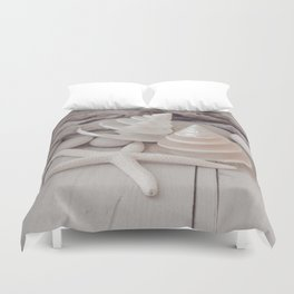 Beach Still Life With Shells And Starfish Duvet Cover