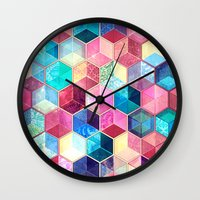crystal Wall Clocks featuring Topaz & Ruby Crystal Honeycomb Cubes by micklyn