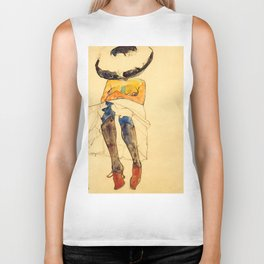 "Egon Schiele ""Seated semi-nude with hat and purple stockings"" Biker Tank"