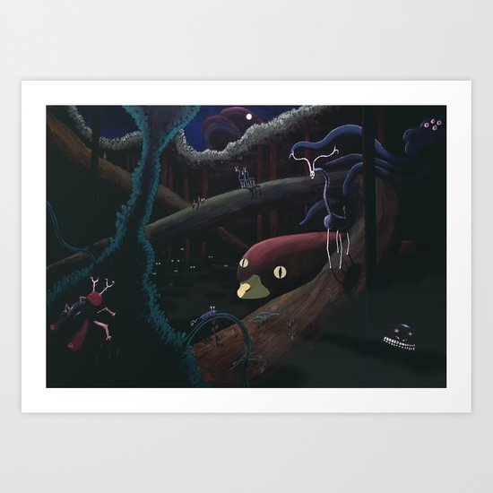 Monsters lurking in the forest Art Print