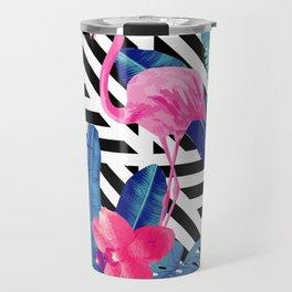 Tropical Pink Flamingo Pattern Travel Mug