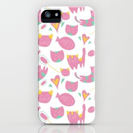 Cute mauve pink teal yellow cat fish animal pattern iPhone Case