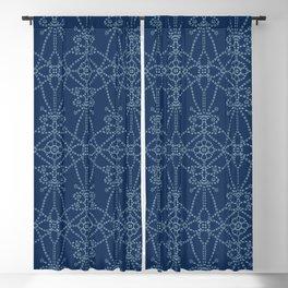 Flower butterfly motif sashiko style. Blackout Curtain