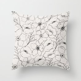 Floral Simplicity - Neutral Black Throw Pillow