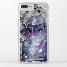 Hand Painted Galaxy Tea Kettle Clear iPhone Case