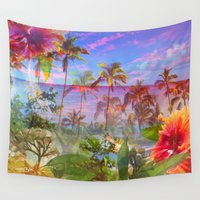 hawaiian Wall Tapestries featuring HAWAIIAN ESCAPE  by Lauren Taylor Creations