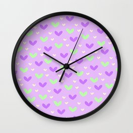 Purple and Green Hearts Wall Clock