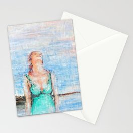 Relax abstract woman oil on canvas Stationery Cards