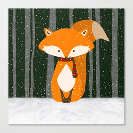 Fox Wintery Holiday Design Canvas Print