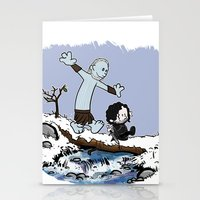 calvin and hobbes Stationery Cards featuring Jon and Hobbes beyond the wall by BovaArt