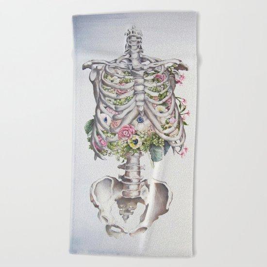 Floral Anatomy Skeleton Beach Towel