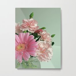 Pink and Green Floral Metal Print