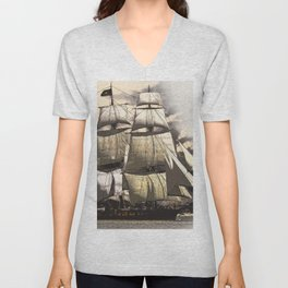 sailing ship vintage Unisex V-Neck