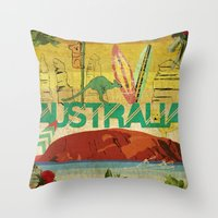 australia Throw Pillows featuring Australia by LilianaPerez