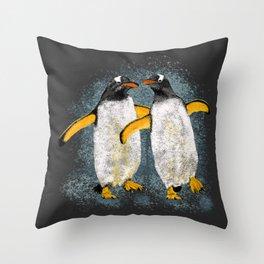 Happy penguin couple - Grey Throw Pillow