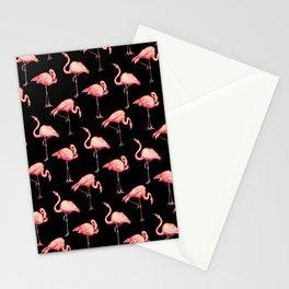 Flamingo Pattern - Black Stationery Cards