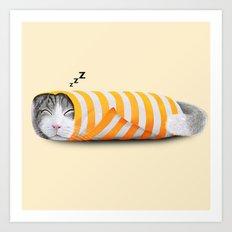 Cat in the paper Art Print