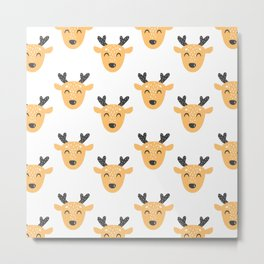 Kids deer pattern. Cute baby animal illustration. Christmas and New Year. Winter holiday Metal Print