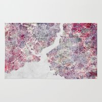istanbul Area & Throw Rugs featuring Istanbul Map by MapMapMaps.Watercolors
