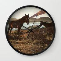 pony Wall Clocks featuring PONY by KELLY SCHIRMANN
