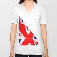 british flag V-neck T-shirts featuring Im British by Stitched up designs