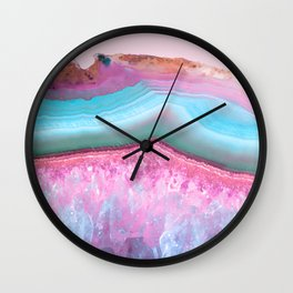Rose Quartz and Serenity Agate Wall Clock