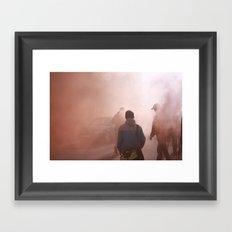 Red Smoke Streets Framed Art Print