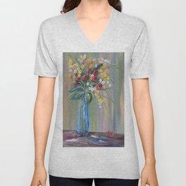 Flowers in a Blue Vase Soft Focus Unisex V-Neck