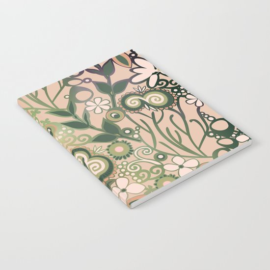 Detailed square of peach and green floral tangle Notebook