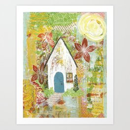 Little white cottage in the sun Art Print
