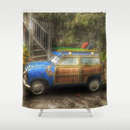 Off to Fulfill a Surfing Dream Shower Curtain