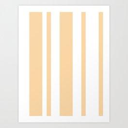 Mixed Vertical Stripes - White and Sunset Orange Art Print