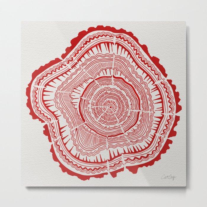 Red Tree Rings Metal Print