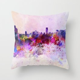 Seoul skyline in watercolor background Throw Pillow