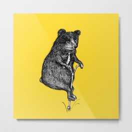 Ride On Bear_yellow Metal Print