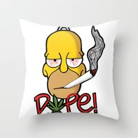 simpson Throw Pillows featuring Dope Homer Simpson by DeMoose Art