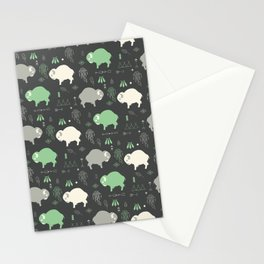 Seamless pattern with cute baby buffaloes and native American symbols, dark gray Stationery Cards