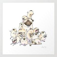 Family Mountain - Pug Pile Art Print