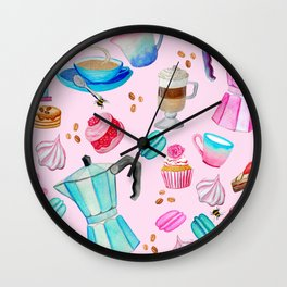 Moka pot, coffee and cake with raspberry macarons and yumminess Wall Clock